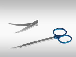 CLINA STAR Iris-und Fadenschere, gebogen, spitz, spitz, steril, 13 cm